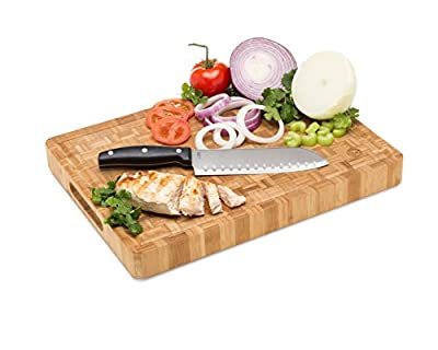 Large End Grain Bamboo Cutting Board | Professional, Antibacterial Butcher Block | Non-Slip Rubber Feet by Top Notch Kitchenware