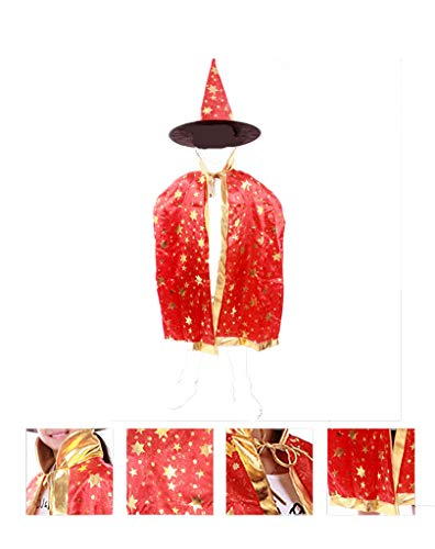 Yuhqc Halloween Cloak Child Witch Wizard Custome Halloween Wizard Hat, Hooded Cosplay Party Cloak Wizard Robe(Red) ()