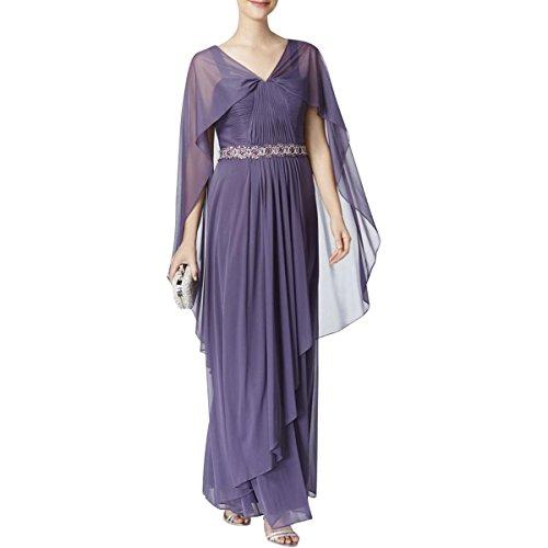 - Alex Evenings Womens Embellished Sleeveless Evening Dress Purple 10