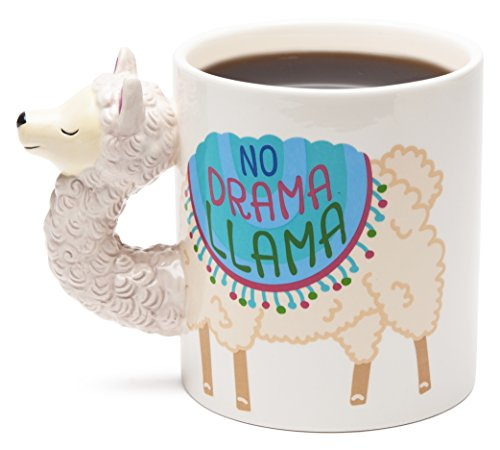BigMouth Inc No Drama Llama Coffee Mug - Hilarious 20 oz Ceramic Coffee Mug with Llama Head Handle - Funny Mug is Perfect for The Home or Office, Makes a Great Gift