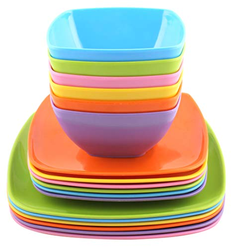 Melange 18-Piece 100% Melamine Square Dinnerware Set (Squares Solid)|Shatter-Proof and Chip-Resistant Melamine Square Plates and Bowls|Dinner Plate, Salad Plate & Soup Bowl (6 Each)|Color:Blue (Best Chip Resistant Dinnerware)