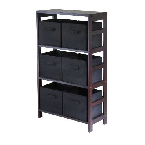Luxury Home Capri Brown Wood 3-section Storage Shelf with 6 Black Fabric Foldable Baskets