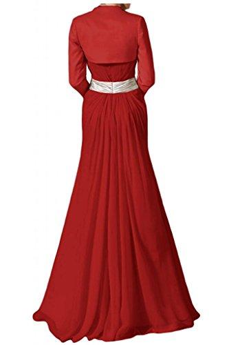 Vestido de novia sin tirantes con estilo Toscana Bolero vestidos de Gasa de noche de satén de novia vestidos de fiesta de madre de largo vestidos de bola Rojo