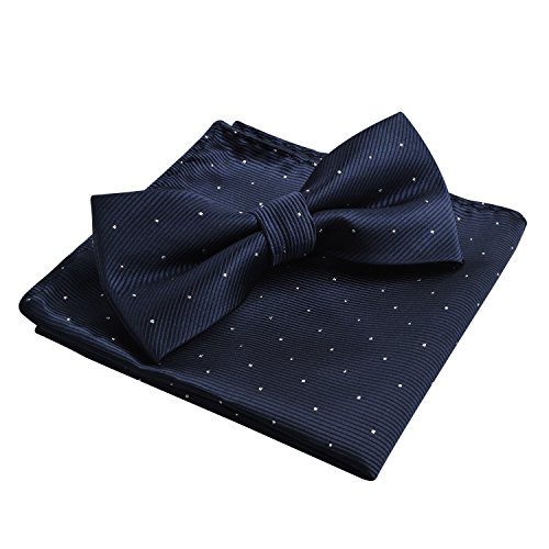 Men's Silver Dot Banded Bow Tie and Pocket Square Set, Dark Navy