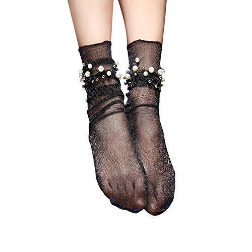 DZT1968 Women Thin Ruffle Fishnet Ankle High Socks pearl bead Short Socks (Beads Sock)