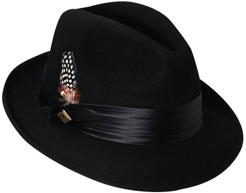 Stacy Adams Men's Crushable Wool Felt Snap Brim Fedora (Black, Small) (Felt Fedora Hats)