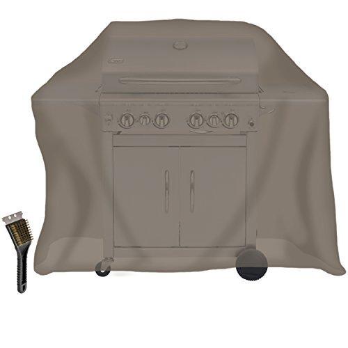 KROLLMANN universal Abdeckhaube in Grau für Grill, Abdeckung für Gasgrill und Kohlegrill mit gratis Oramics Grillbürste, Schutzhülle Maße: 150 x 70 x 110 cm