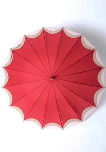 雨傘長傘婦人16本骨三日月刺繍駒取手開き雨傘ワインFree