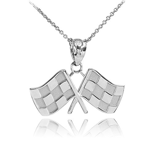 (Sports Charms 925 Sterling Silver Racing Flags Charm Pendant Necklace, 18