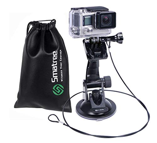 Smatree Suction Cup Car Mount Compatible for GoPro Hero7/6/5/4/3+/3/2/1 Camera/Car Windshield Window/DJI OSMO Action Camera/SJcam/SJ4000/SJ5000/xiaomi Yi with Safety Tether and Protective Bag