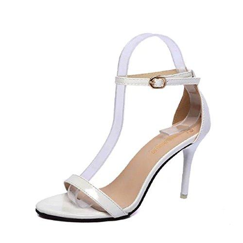 SHOESHAOGE Los Zapatos High-Heel Fina Con Sandalias Dew-Minimalist Negro Zapatos De Mujer Oro High-Heeled Sandals Amarre Ranurados Hembra ,Eu40 EU38