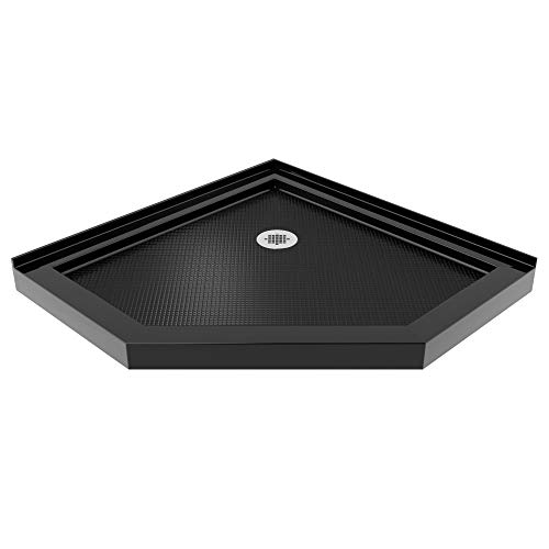 DreamLine SlimLine 38 in. D x 38 in. W x 2 3/4 in. H Corner Drain Neo-Angle Shower Base in Black