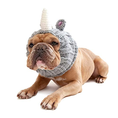 Zoo Snoods Rhino Dog Costume - Neck and Ear Warmer Headband for Pets (Small)]()