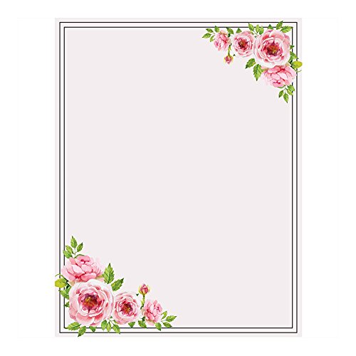 ng Paper, with Cute Floral Designs Perfect for Notes or Letter Writing - Pink Roses (Wedding Stationery Paper)