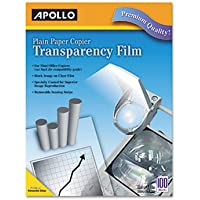 Plain Paper Transparency Film for Laser Devices, Removable Stripe, Clear, 100/BX, Total 500 SH, Sold as 1 Carton
