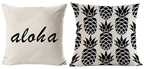 Makana3 Hawaiian Aloha Pineapple Tropical Cushion Cover Set of 2 20 x 20 inch Single-Sided Pattern Throw Pillow Cover for Sofa Couch Loveseat (Aloha Pineapple ()