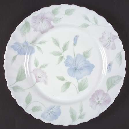 Arcopal Morning Glory Salad Plate ARP18 Pink and blue morning glories with swirled rim