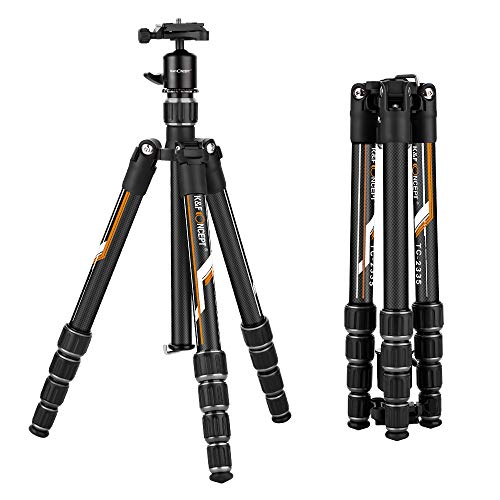 K&F Concept Professional Carbon Fiber Camera Tripod with 360 Degree Ball Head Quick Release Plate for DSLR Camera