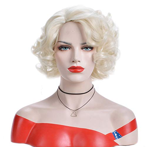 BERON Short Curly Wig Natural Wavy Wigs for Cosplay Costume Party Come with Wig Cap (Blonde) -