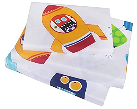 Boys & Girls Spaceship Universe Adventure Printed Twin Sheet Set, 100% Cotton, Flat Sheet + Fitted Sheet + Pillowcase 3 pieces Bedding (Rocket Twin Bedding)