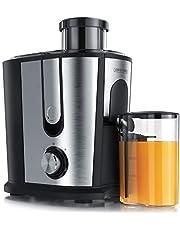 Arendo – juicepress för frukt och grönsaker i rostfritt stål – Centrifug juicepress – elektrisk – 2 hastighetssteg – överhettningsskydd – kåpa i rostfritt stål – BPA-fri