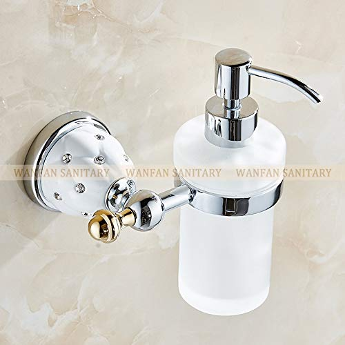 SOMITI | Liquid Soap Dispensers | Soap Dispensers Luxury Golden Wall Mounted Liquid Soap Holder with Gold Frosted Glass Container Bottle Bathroom Products 5218