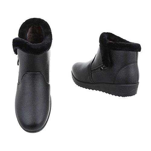 Ital-Design Klassische Stiefeletten Damenschuhe Schlupfstiefel Warm Gefütterte Reißverschluss Stiefeletten Schwarz