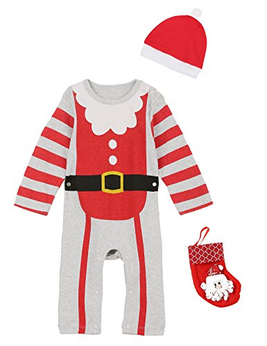 Red Striped Pants Costume (Baby Girls Boys Christmas Santa Claus Costume Cute Romper Striped Pants With Hat (9-12 Months))