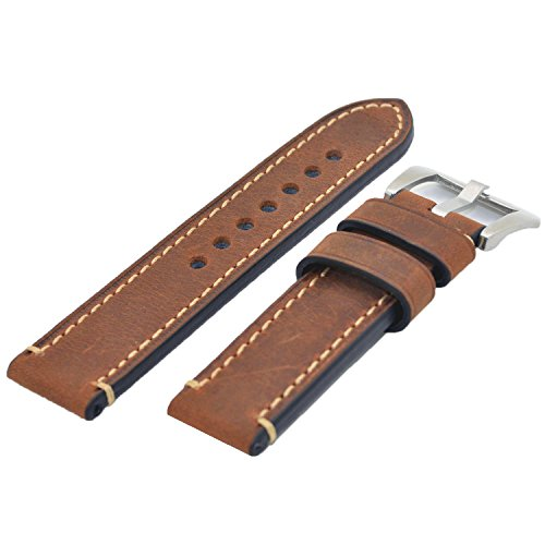 Brown 22mm Genuine Leather Wristwatch Watch Band Oil Tan Vintage Watchband for Men with Stainless Buckle