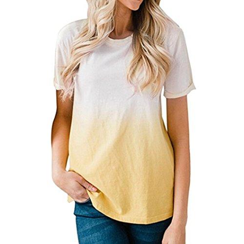 Wintialy Women's Short Sleeve Shirts Tie Dye Ombre Casual Blouse (Tie Dye Zebra)