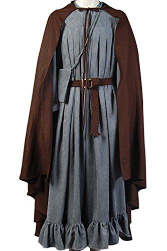 Ya-cos Men's The Fellowship of the Ring Gandalf Cosplay Costume Robe Cloak Grey/Brown (Large, (Gandalf Costumes)