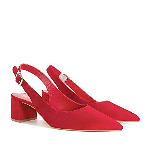 Irene.andres Machado Slingback Chaussures Suedeleather.made En Espagne.womens Petite Et Grandes Tailles: Us2-5 / Us10.5-13 Cuir De Daim Rouge