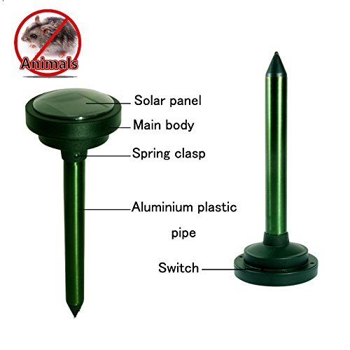 DAPRIL Ultrasonic Pest Repeller,Portable Solar Powered With Sound Vibrations for Lawn Garden Yard Outdoor Pest Control Rodent Repellent(Green)