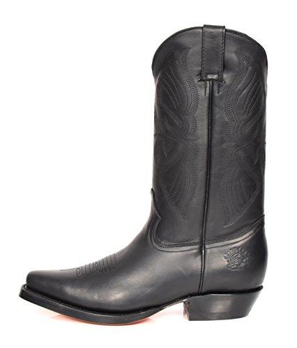 Western Stivali Cowboy Leather hi In Tacco Scivolare Lunghezza House Polpaccio Nero Su Appuntito Of Di 12la Pelle TfWxwqnCOq
