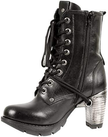 NEWROCK New Rock Botas Estilo M.TR001 S1 Negro Mujer Talones De Acero iDGWEEMT