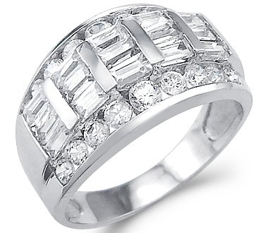 Solid 14k White Gold Ladies CZ Cubic Zirconia Wedding Anniversary Band Ring 2.0 ct Sonia Jewels