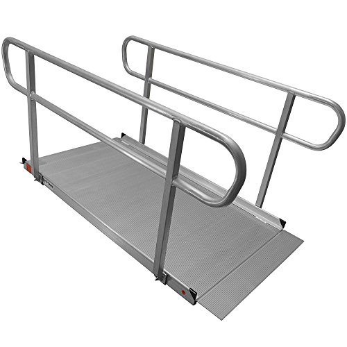 6' Aluminum Wheelchair Entry Ramp & Handrails Solid Surface Scooter Mobility -