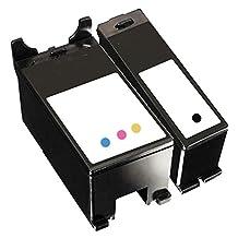 1 Set of 2 Inkfirst® Ink Cartridges Series 21 22 23 24 Y498D, Y499D Compatible Remanufactured for Dell Y498D Black, Y499D Color Dell V313 V313W V515 P513W V715W P713W