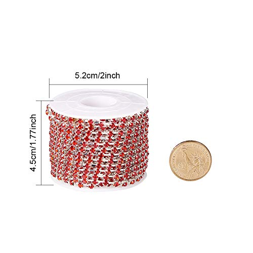BENECREAT 10 Yard Crystal Rhinestone Close Chain Clear Trimming Claw Chain Sewing Craft About 1440pcs Rhinestones, 3mm - Red (Silver Bottom)