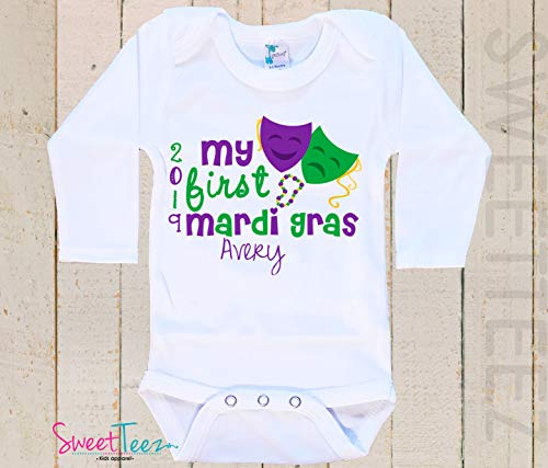 c187b5b01 Amazon.com: My first Mardi Gras Baby Bodysuit Baby Girl Boy Personalized  with Name and Year Gift 2018 my 1st Mardi Gras: Handmade