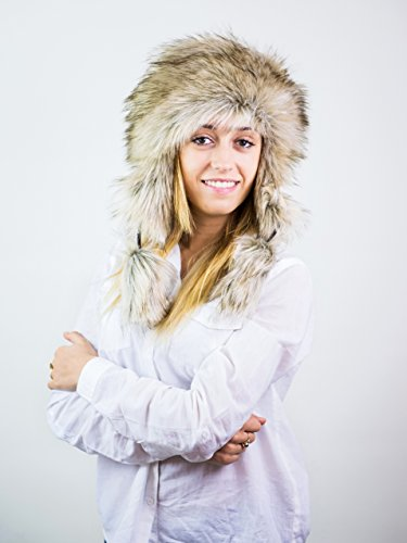 Futrzane Faux Fox Fur Winter Trapper Hat Women Russian Style Pompom (Siberian Wolf)