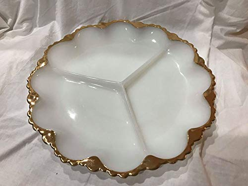 Vintage Anchor Hocking Fire-King Milk Glass Divided Relish Tray Plate w/ Gold Trim 9 3/4