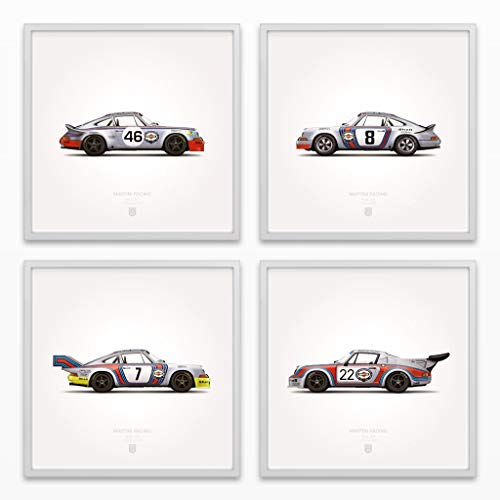 GarageProject101 1973 Classic Martini Racing Illustration Poster Print - Set of 4 (Racing Print)