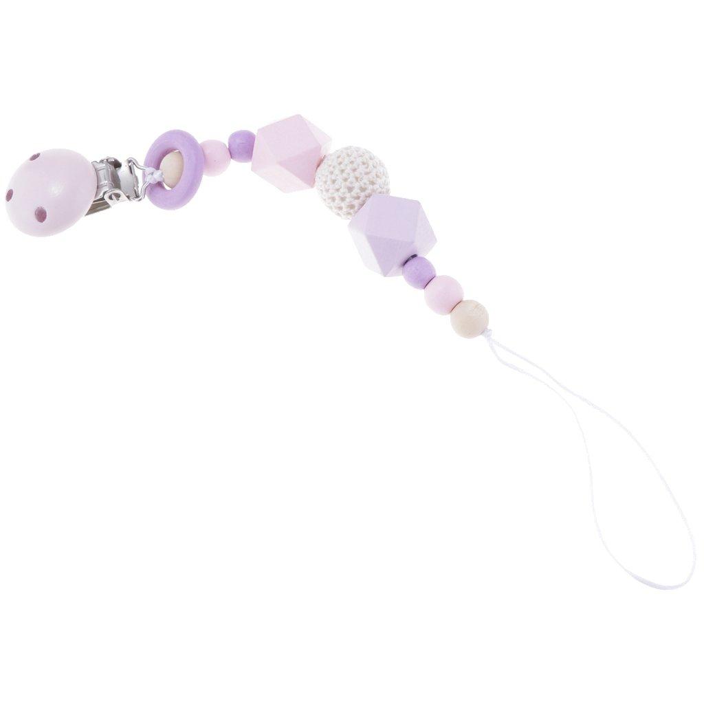 Sharplace Clip Attache Sucette/Tétine Dentition Bébé Amovible Jouet Teether en Perle Rond de Bois pour Bébé Allaitement - Violet