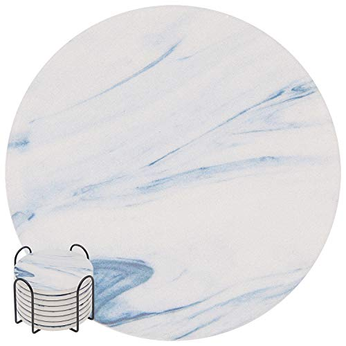 Absorbent Drink Coasters, GOH DODD 8 Pieces Ceramic Mats Table Centerpieces Home Decor With Cork Backing and Holder Stand for Home Office, Marble Surface Pattern ()