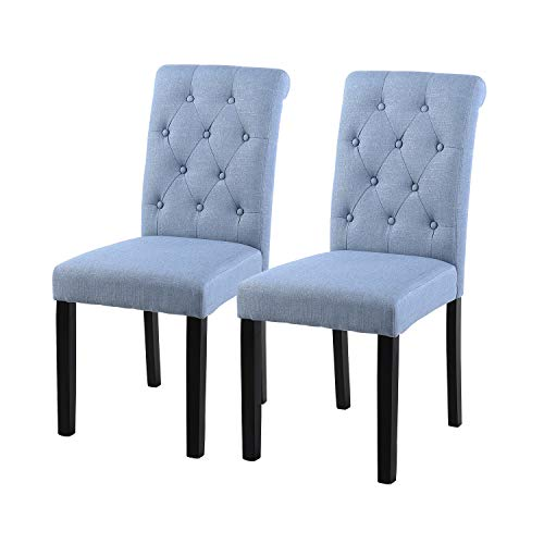 YEEFY Fabric Habit Solid Wood Tufted Parsons Dining Chair (Set of 2) (Light Blue) (Turquoise Dining Chairs)