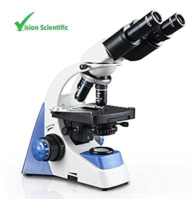 Vision Scientific MU50 Binocular Compound Microscope, 40x – 1000x Magnification, Double Layer Mechanical Stage, LED Illumination w/ Intensity Control