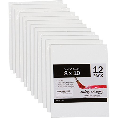 12 Pack 8X10 Canvas Panels - Academy Art Supply Value Pack Blank Canvas Panel Boards