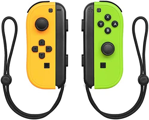 Burcica JoyCon (L/R) for Switch,Joy Con Controllers Gamepad with Gyro Axis and Dual Vibration Support Wake-Up Function (Yellow and Green)