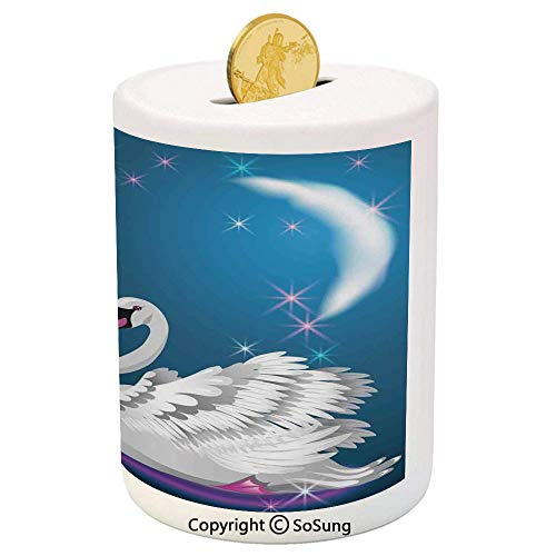 Swan Ceramic Piggy Bank,Magic Lily and Fairy Swan at Night Swimming in Lake Under Moon and Stars Picture Art 3D Printed Ceramic Coin Bank Money Box for Kids & Adults,Blue White